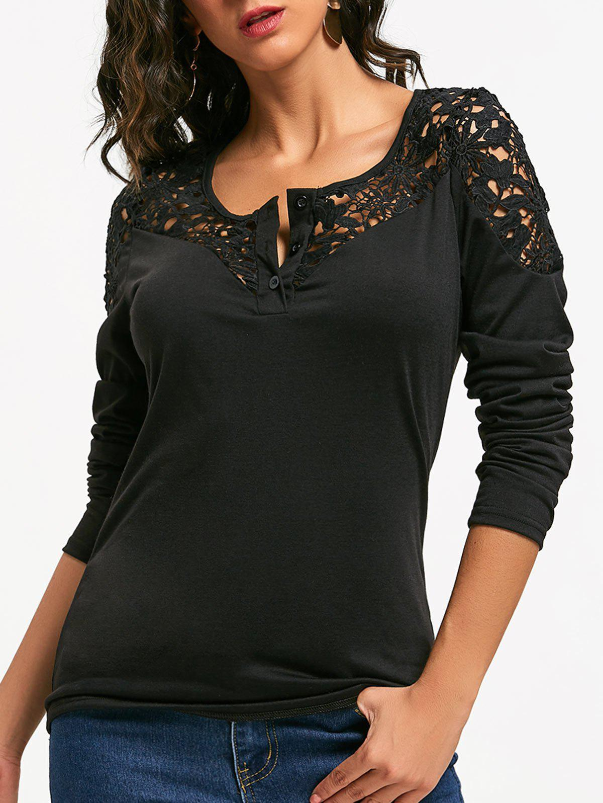 Long Sleeve Crochet Lace Insert TopWOMEN<br><br>Size: L; Color: BLACK; Material: Polyester; Shirt Length: Regular; Sleeve Length: Full; Collar: Round Neck; Style: Fashion; Embellishment: Lace; Pattern Type: Solid Color; Season: Fall,Spring; Weight: 0.3500kg; Package Contents: 1 x Top;
