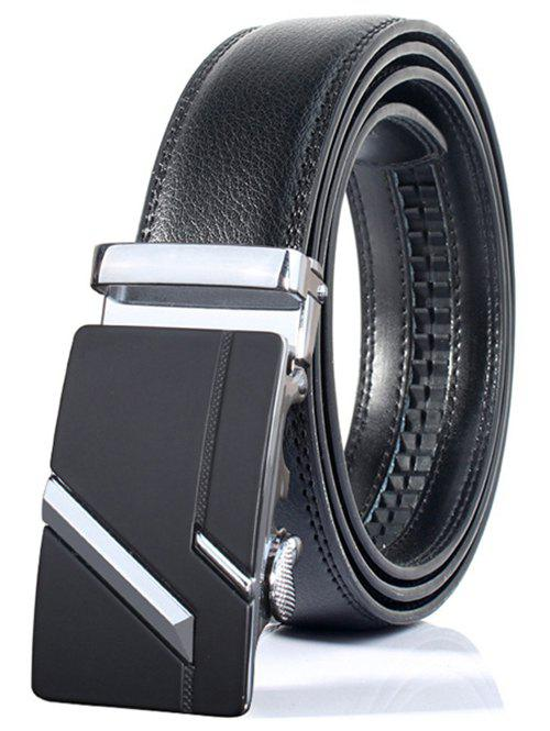 Simple Embellished Paralleled Line Automatic Buckle Wide BeltACCESSORIES<br><br>Color: SILVER; Group: Adult; Gender: For Men; Style: Formal; Belt Material: Faux Leather; Pattern Type: Others; Belt Silhouette: Wide Belt; Belt Length: 105-125CM; Belt Width: 3.5CM; Weight: 0.2550kg; Package Contents: 1 x Belt;