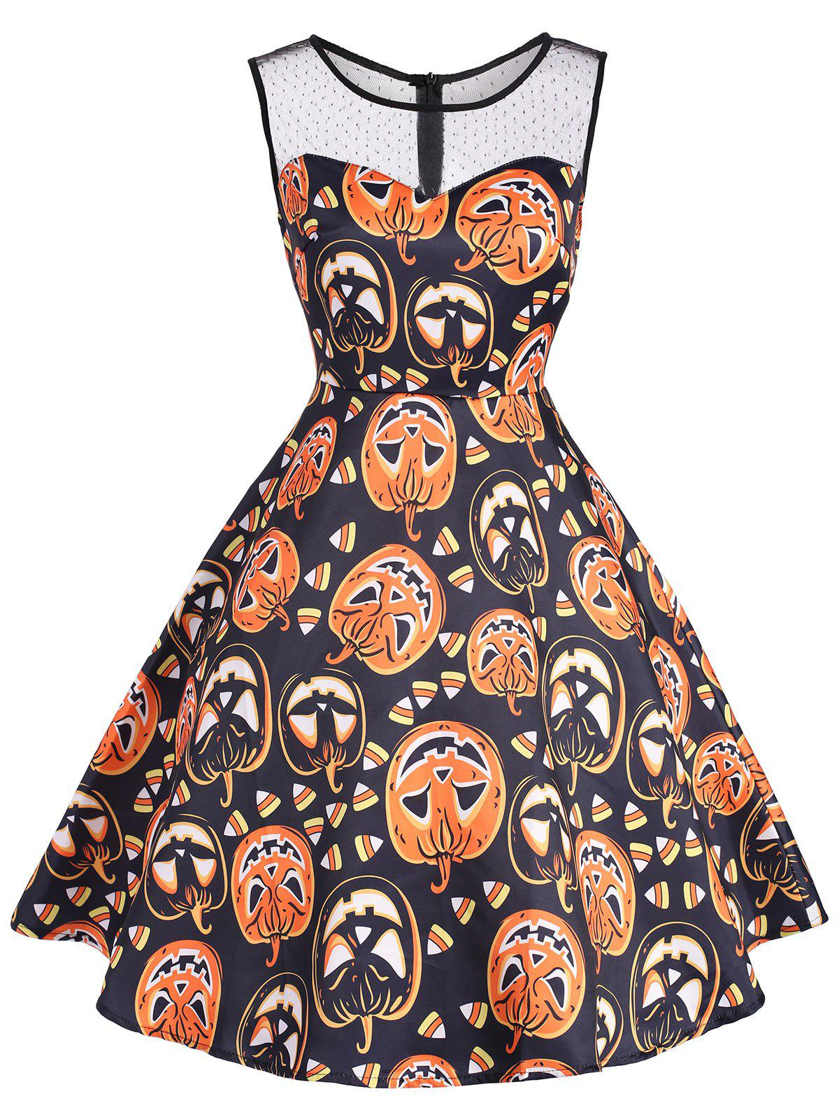 Best Halloween Pumpkin Mini Mesh Yoke Dress