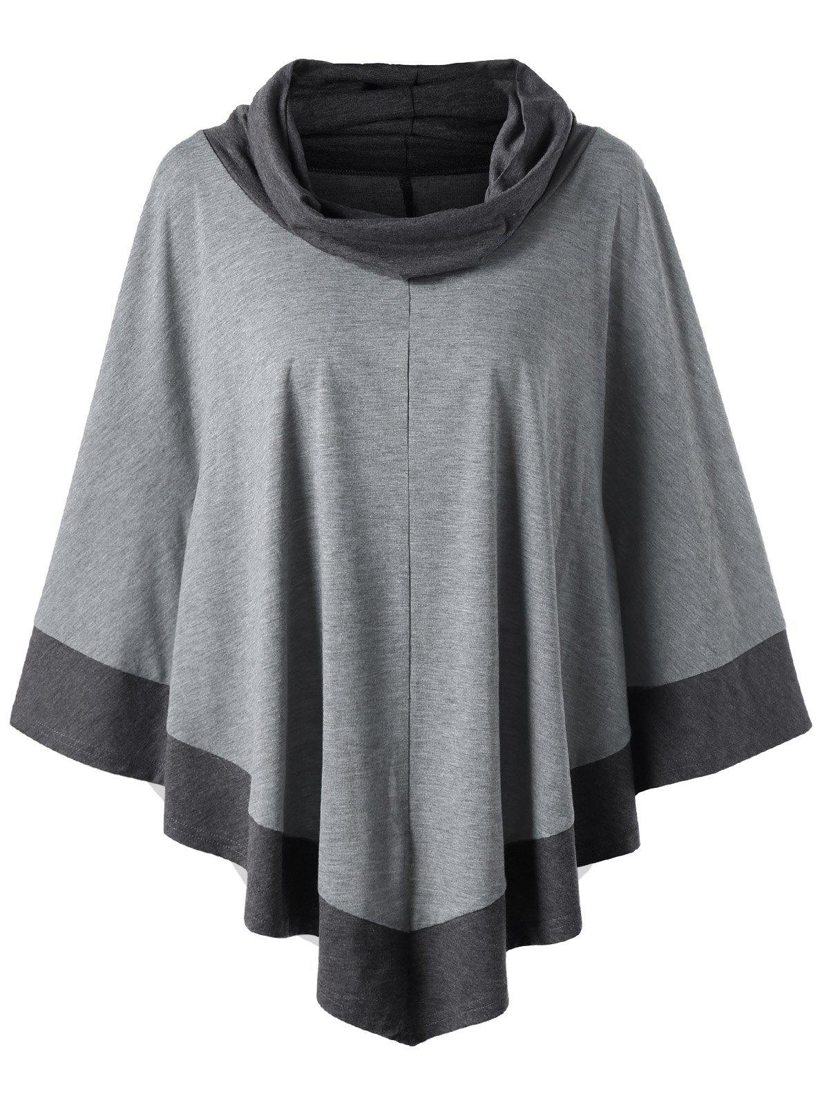 Plus Size Cowl Neck Longline Poncho TopWOMEN<br><br>Size: XL; Color: SMOKY GRAY; Material: Polyester,Spandex; Shirt Length: Long; Sleeve Length: Full; Collar: Cowl Neck; Style: Casual; Season: Fall,Spring; Pattern Type: Solid; Weight: 0.4000kg; Package Contents: 1 x Top;