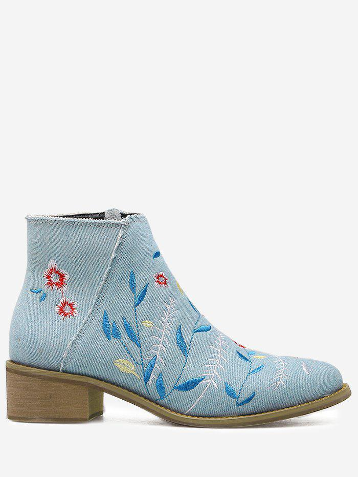 Shop Denim Embroidery Floral Ankle Boots