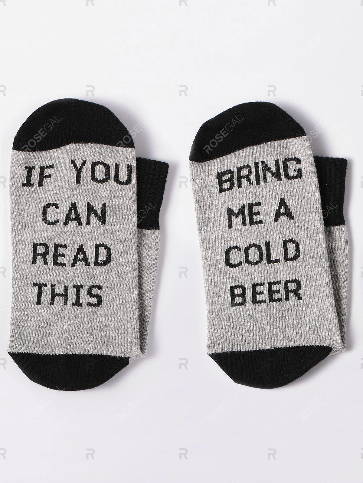 Bring Me A Color Beer Print Ankle SocksACCESSORIES<br><br>Color: GRAY; Type: Socks; Group: Adult; Gender: Unisex; Style: Fashion; Pattern Type: Letter; Material: Spandex; Weight: 0.0900kg; Package Contents: 1 x Socks(Pair);