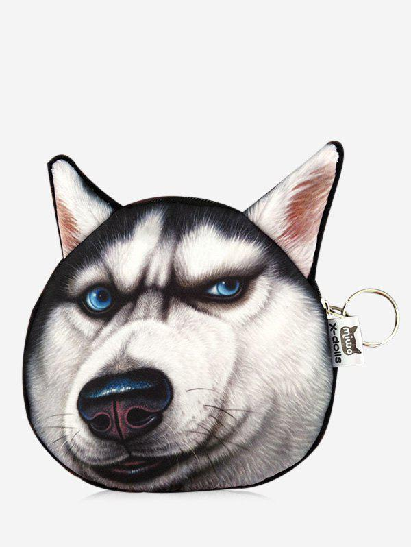 Funny 3D Pattern Dog Coin PurseSHOES &amp; BAGS<br><br>Color: BLACK; Gender: For Women; Style: Fashion; Closure Type: Zipper; Pattern Type: Animal Prints; Main Material: Canvas; Length: 14CM; Width: 1CM; Height: 13.5CM; Weight: 0.2000kg; Package Contents: 1 x Coin Purse;