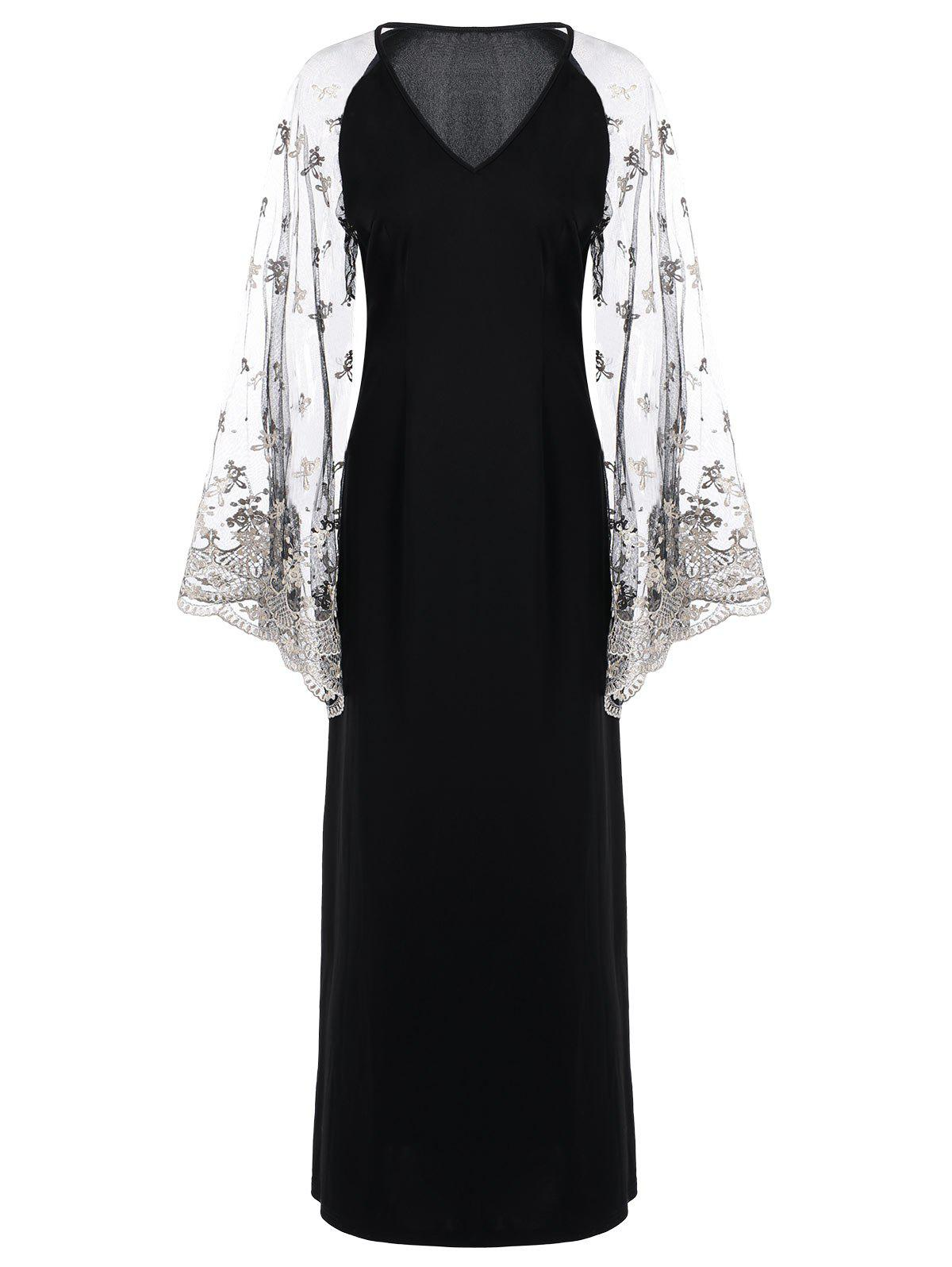 V Neck Flare Sleeve Maxi DressWOMEN<br><br>Size: L; Color: BLACK; Style: Novelty; Material: Polyester,Spandex; Silhouette: Straight; Dresses Length: Ankle-Length; Neckline: V-Neck; Sleeve Length: Long Sleeves; Embellishment: Lace; Pattern Type: Others; With Belt: No; Season: Fall,Spring; Weight: 0.4700kg; Package Contents: 1 x Dress;