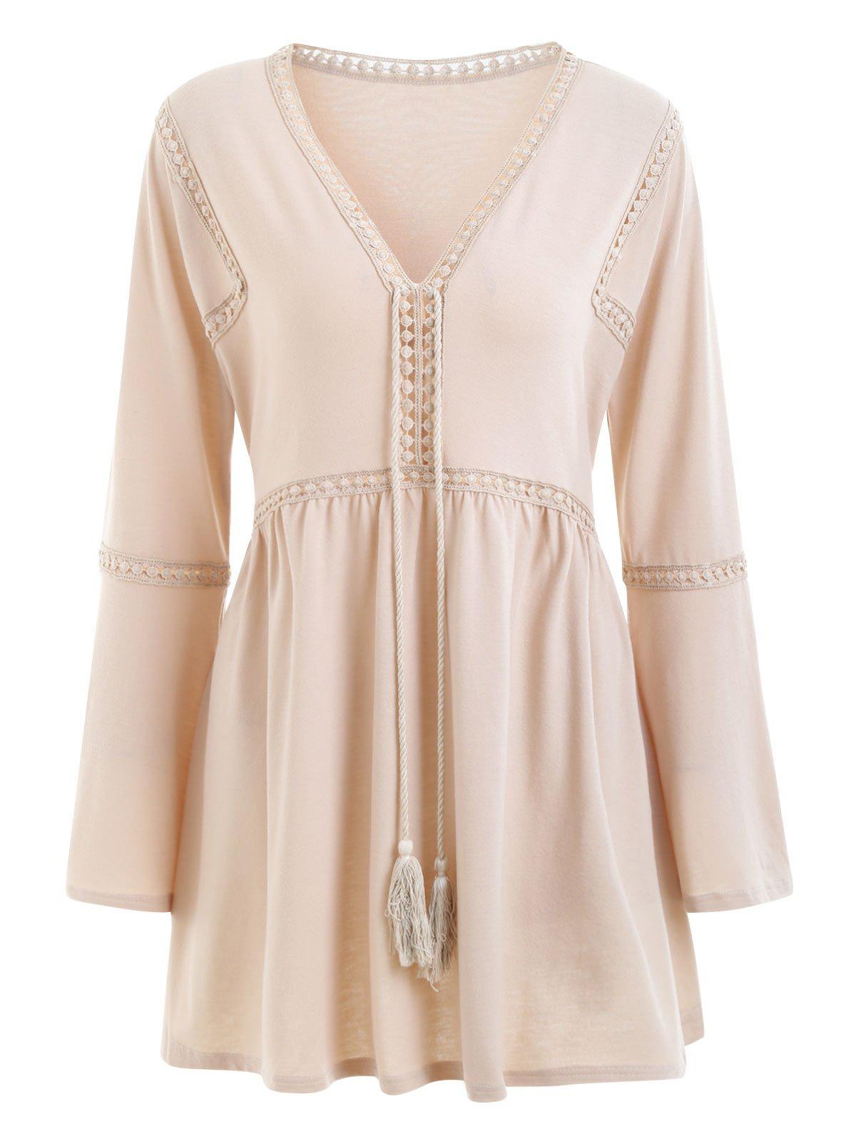 Plus Size Crochet Embellished V Neck Peasant DressWOMEN<br><br>Size: XL; Color: YELLOWISH PINK; Style: Casual; Material: Polyester; Silhouette: A-Line; Dresses Length: Mini; Neckline: V-Neck; Sleeve Length: Long Sleeves; Embellishment: Cut Out,Hollow Out; Pattern Type: Solid Color; With Belt: No; Season: Fall,Winter; Weight: 0.3800kg; Package Contents: 1 x Dress;