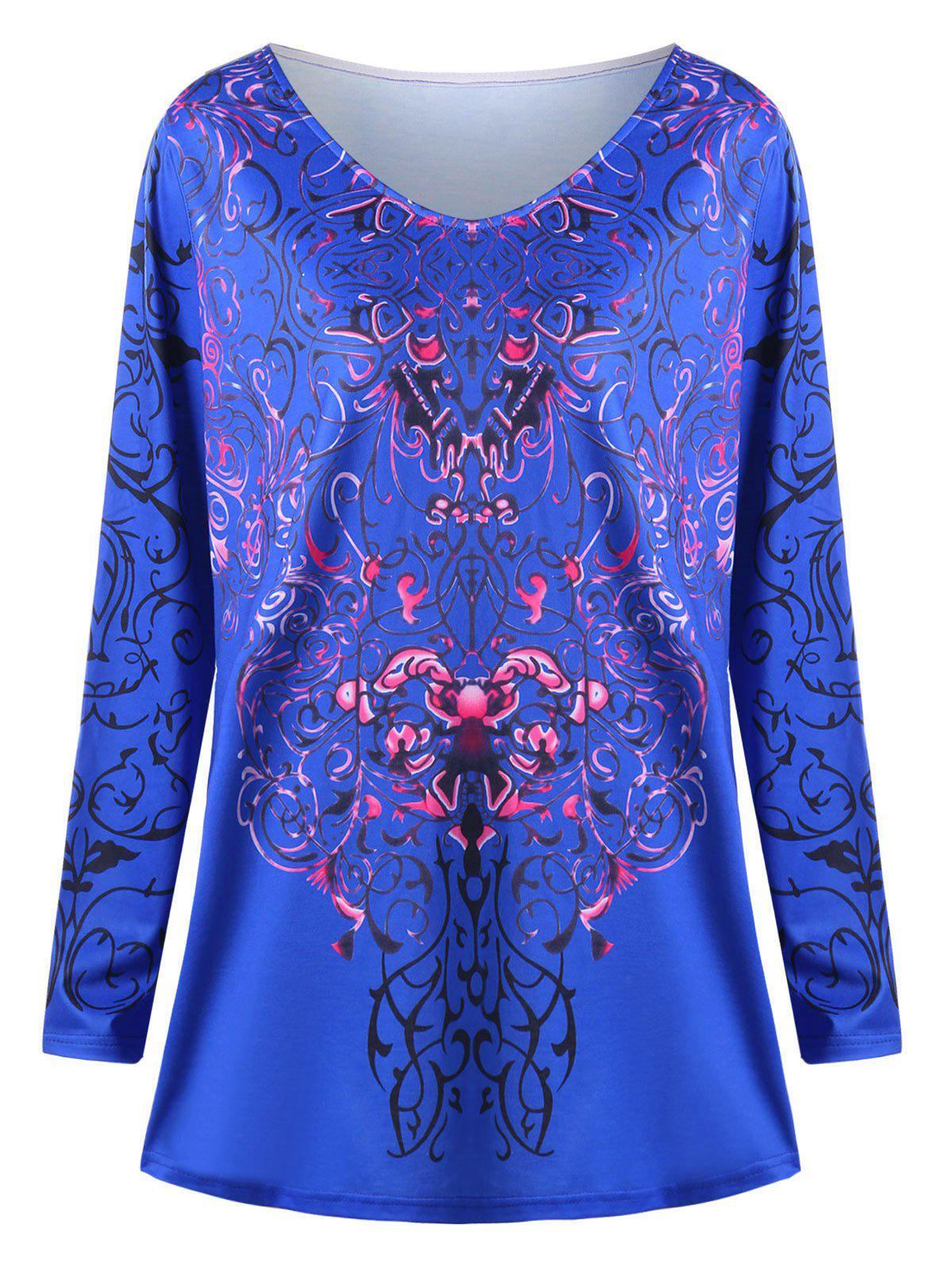 Plus Size Bandana Floral Long Sleeve TeeWOMEN<br><br>Size: 5XL; Color: BLUE; Material: Polyester,Spandex; Shirt Length: Long; Sleeve Length: Full; Collar: Scoop Neck; Style: Casual; Season: Fall,Spring,Summer; Pattern Type: Others; Weight: 0.3000kg; Package Contents: 1 x Top;