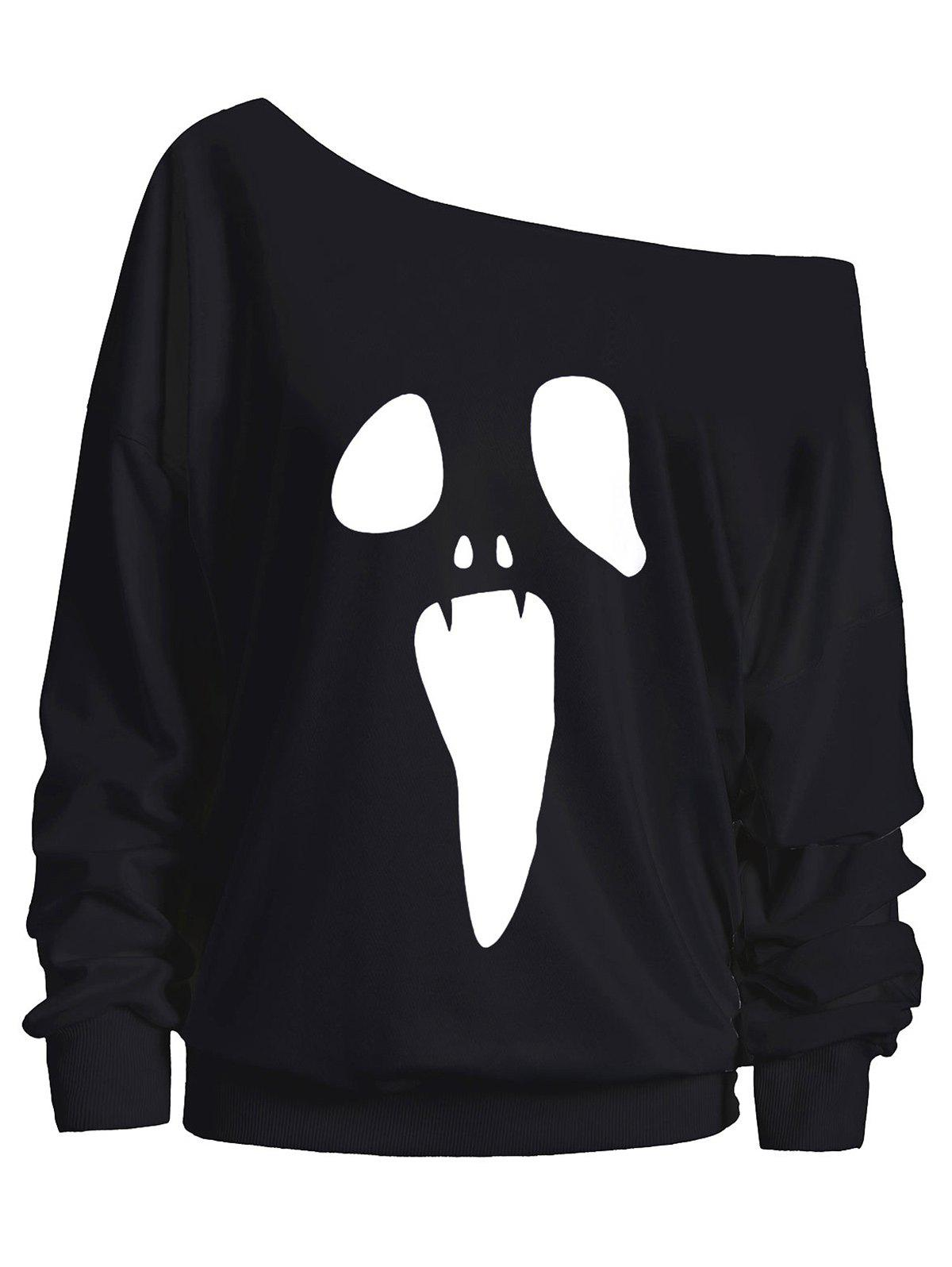 Skew Neck Halloween Ghost SweatshirtWOMEN<br><br>Size: M; Color: BLACK; Material: Cotton,Polyester; Shirt Length: Regular; Sleeve Length: Full; Style: Casual; Pattern Style: Print; Season: Fall; Weight: 0.3500kg; Package Contents: 1 x Sweatshirt;