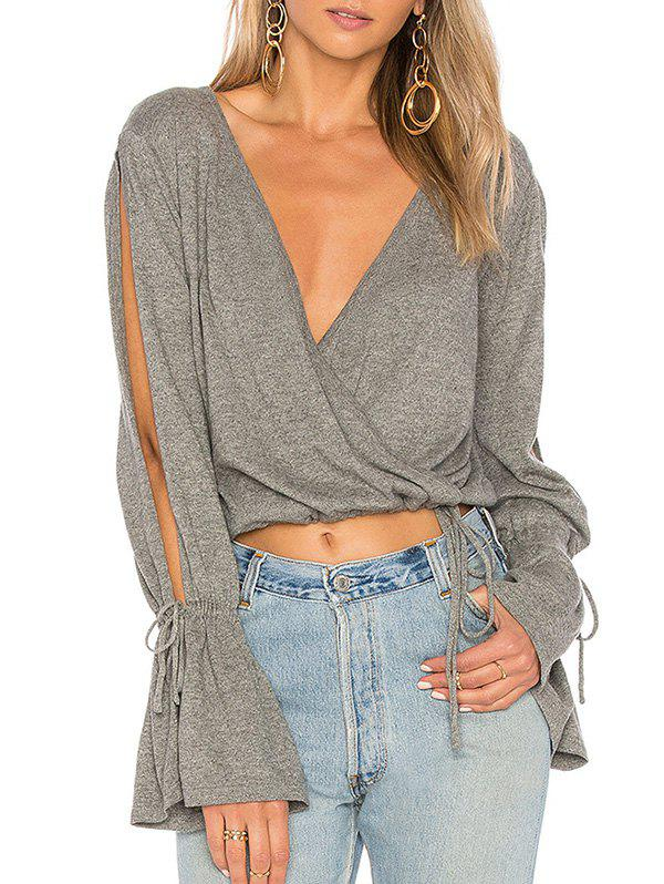 Outfit Plunge Flare Split Sleeve T-shirt
