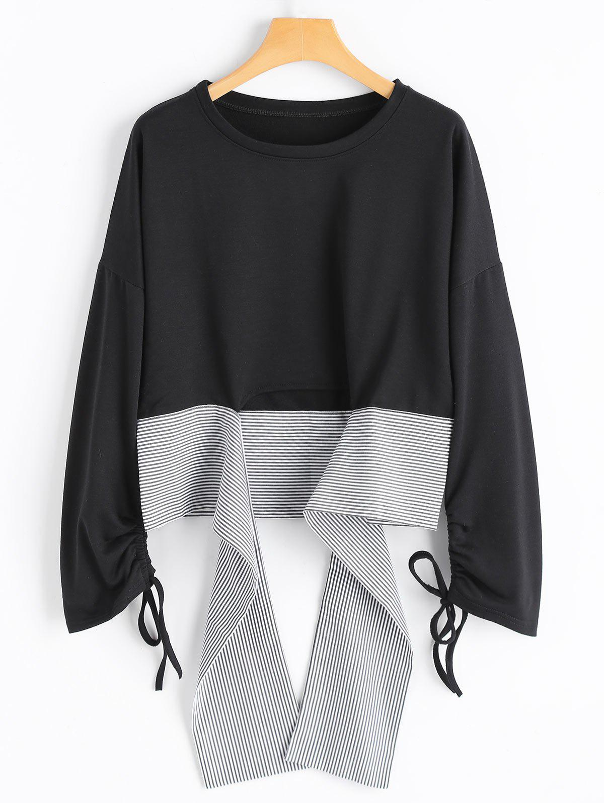 Shops Stripe High Low Ruched Bell Sleeve Top
