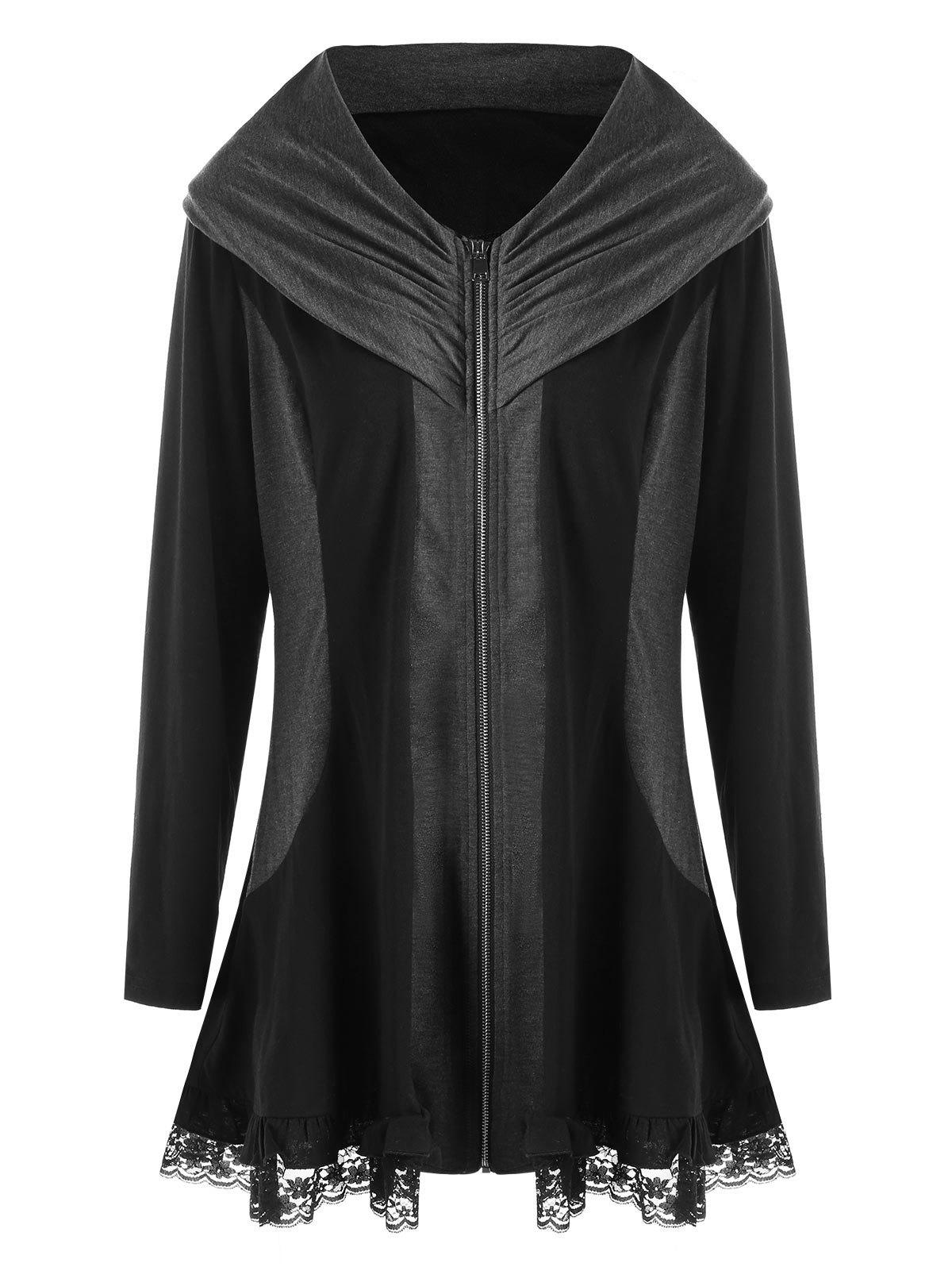 Plus Size Lace Edge Zip Up CoatWOMEN<br><br>Size: 3XL; Color: BLACK; Clothes Type: Others; Material: Polyester,Spandex; Type: Slim; Shirt Length: Long; Sleeve Length: Full; Collar: V-Neck; Pattern Type: Solid; Style: Casual; Season: Fall,Spring; Weight: 0.4500kg; Package Contents: 1 x Coat;