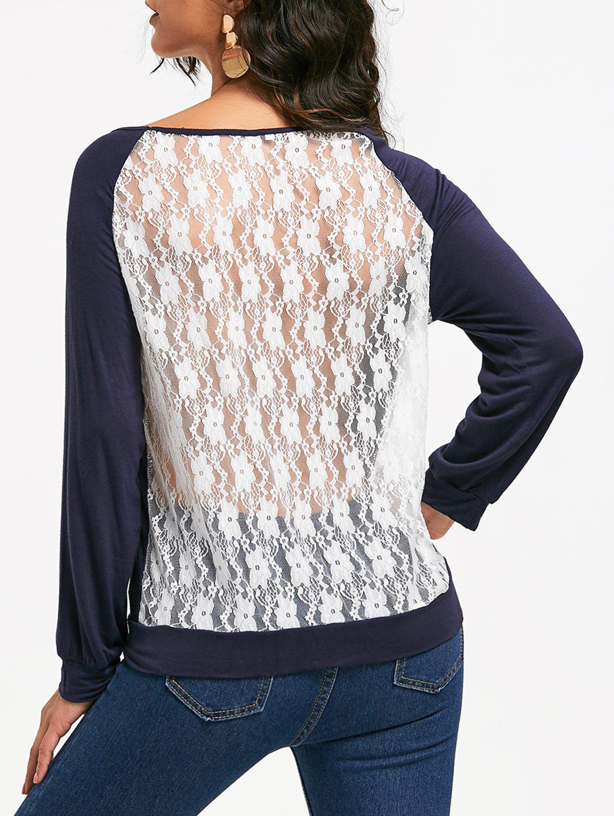 Sweet Hollow Out Lace Spliced Long Sleeve Pullover Sweatshirt For Women