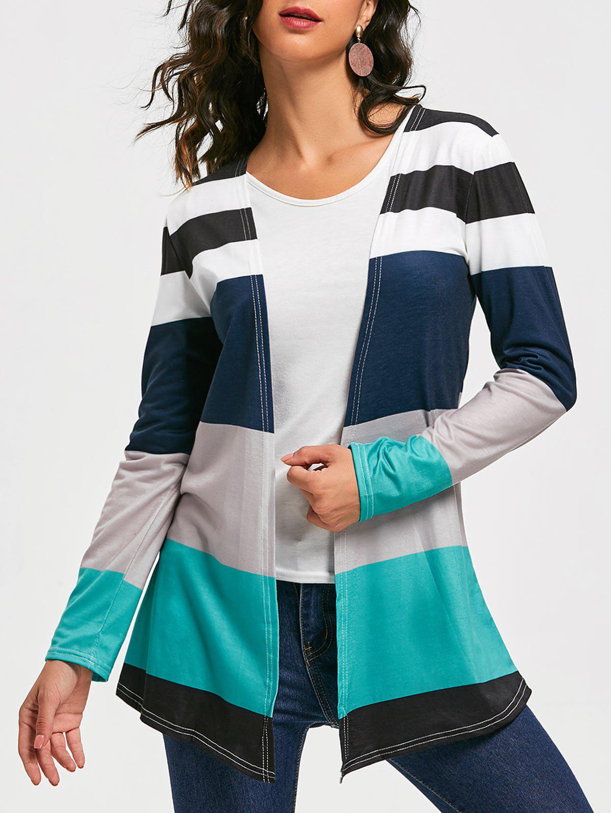 Hot Casual Style Collarless Long Sleeve Colorful Stripe Women's Cardigan