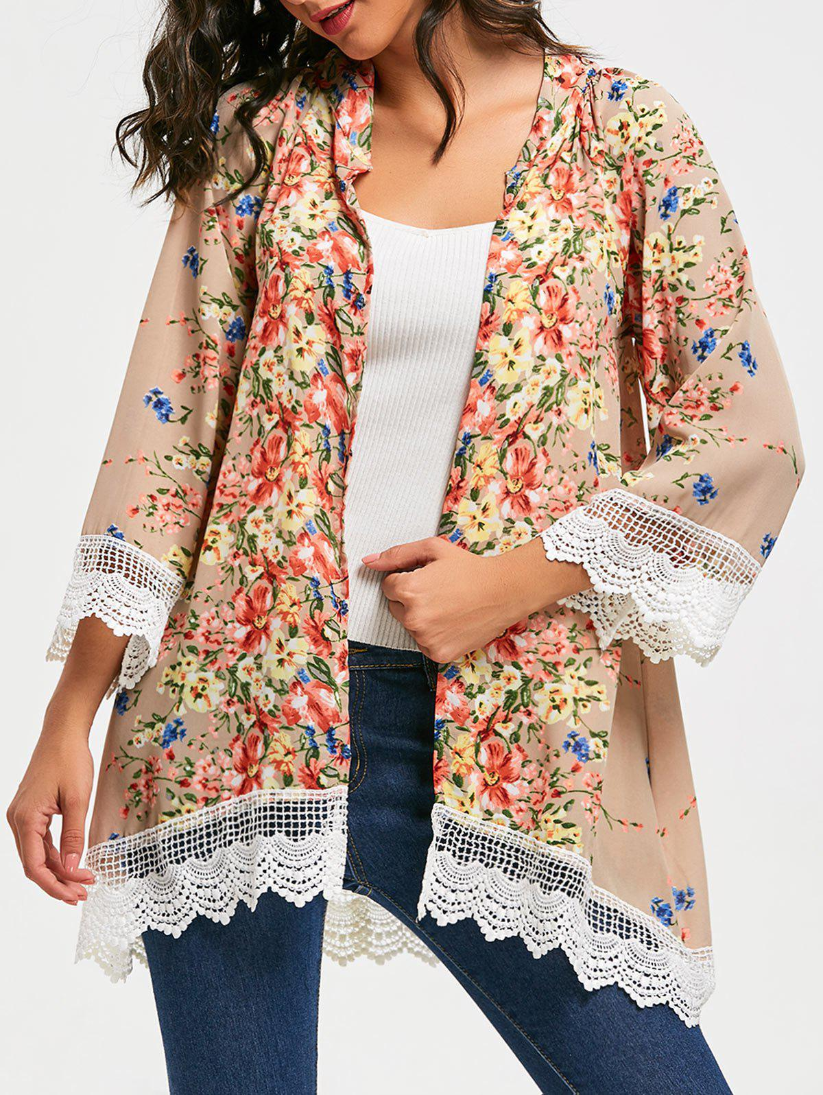 Outfits Collarless Lace Trim Long Floral Kimono