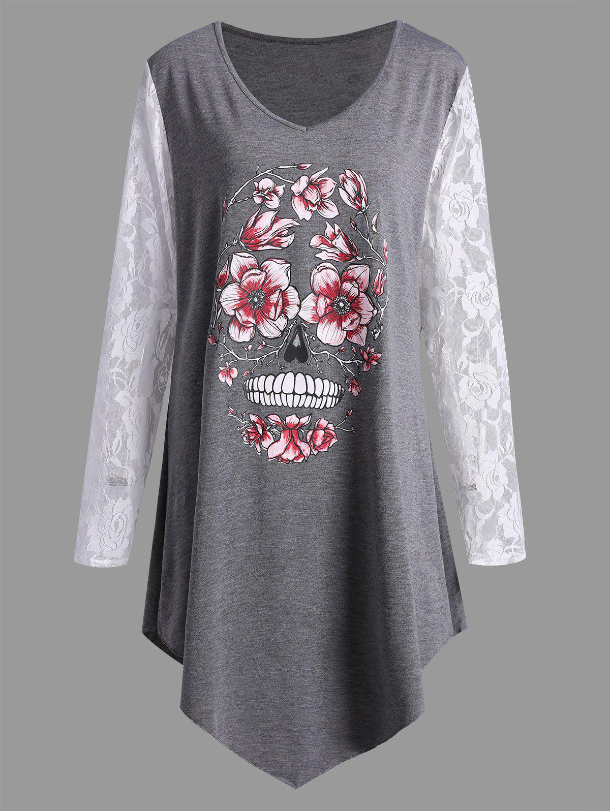 Chic Plus Size Halloween Floral Skull Lace Panel T-shirt