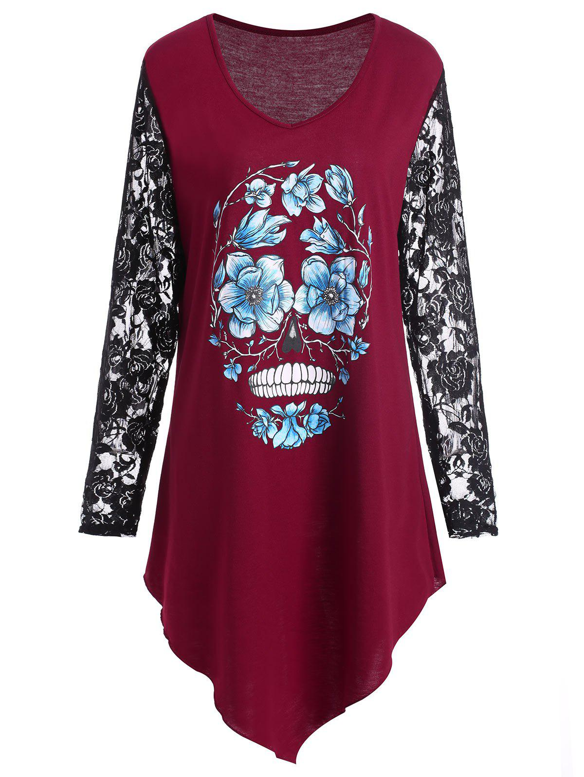 8cd89e372a4 2019 Plus Size Halloween Floral Skull Lace Panel T-shirt