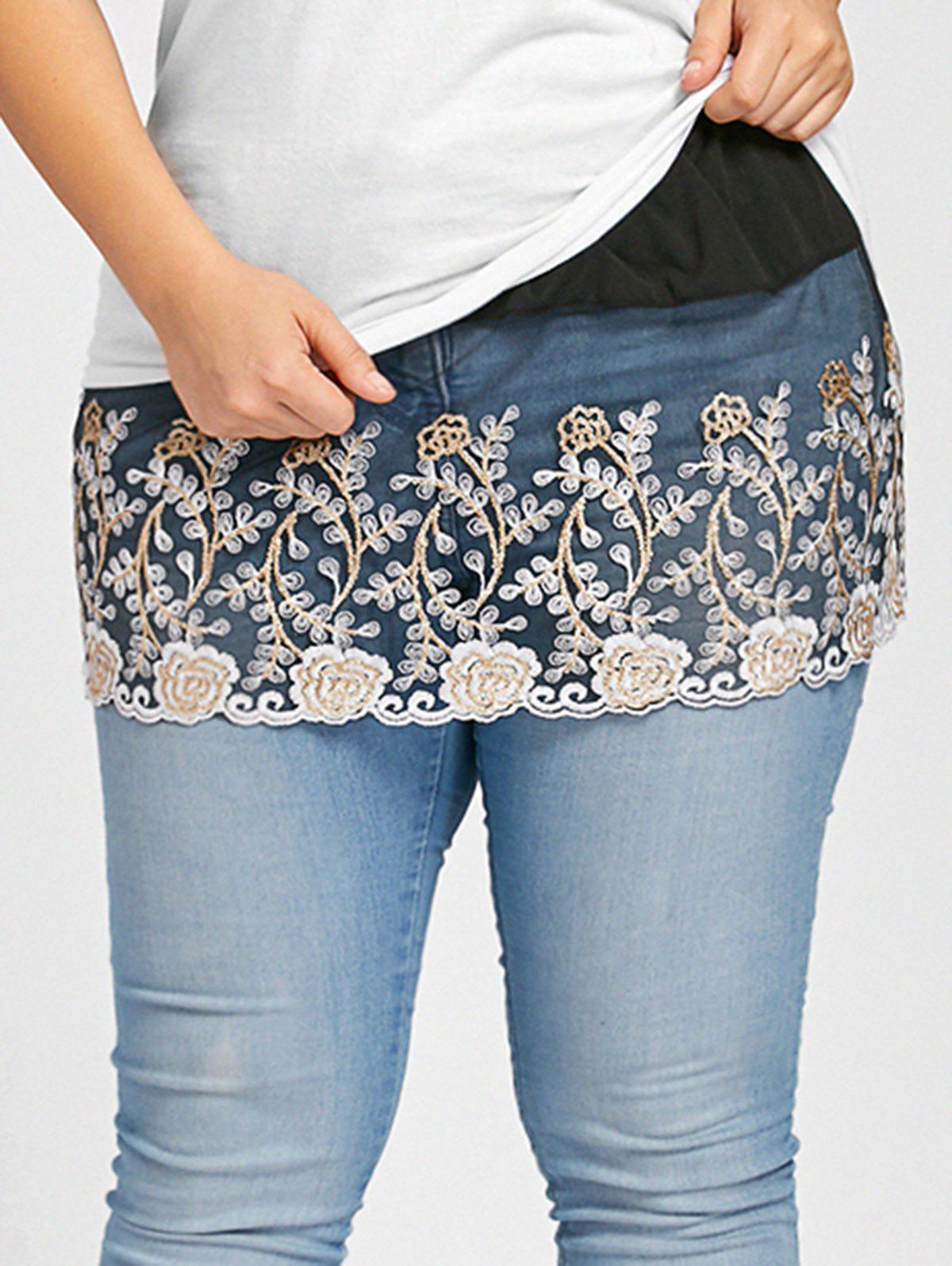 Hot Plus Size Floral Lace Mini Extender Sheer Skirt