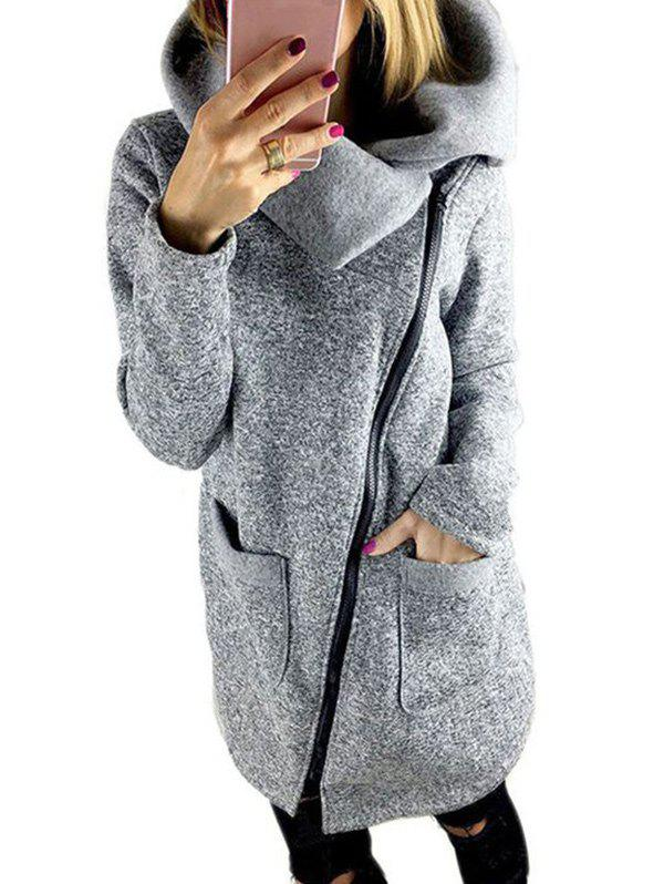 Turtleneck Full Zip Sweatshirt CoatWOMEN<br><br>Size: L; Color: GRAY; Clothes Type: Others; Material: Polyester; Type: Wide-waisted; Shirt Length: Long; Sleeve Length: Full; Collar: Turtleneck; Pattern Type: Others; Embellishment: Zippers; Style: Fashion; Season: Fall,Spring,Winter; With Belt: No; Weight: 0.4900kg; Package Contents: 1 x Coat;