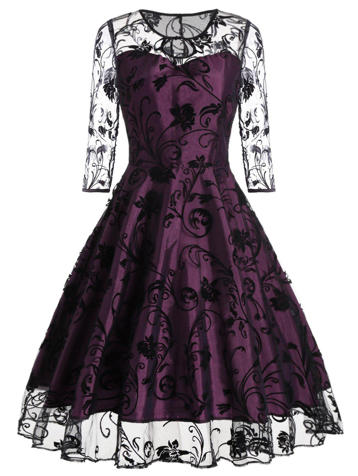 Sheer Sleeve Keyhole Lace Vintage DressWOMEN<br><br>Size: M; Color: PURPLISH RED; Style: Vintage; Material: Polyester; Silhouette: A-Line; Dresses Length: Mid-Calf; Neckline: Keyhole Neck; Sleeve Length: 3/4 Length Sleeves; Embellishment: Lace; Pattern Type: Floral; With Belt: No; Season: Fall,Spring,Summer; Weight: 0.3500kg; Package Contents: 1 x Dress;