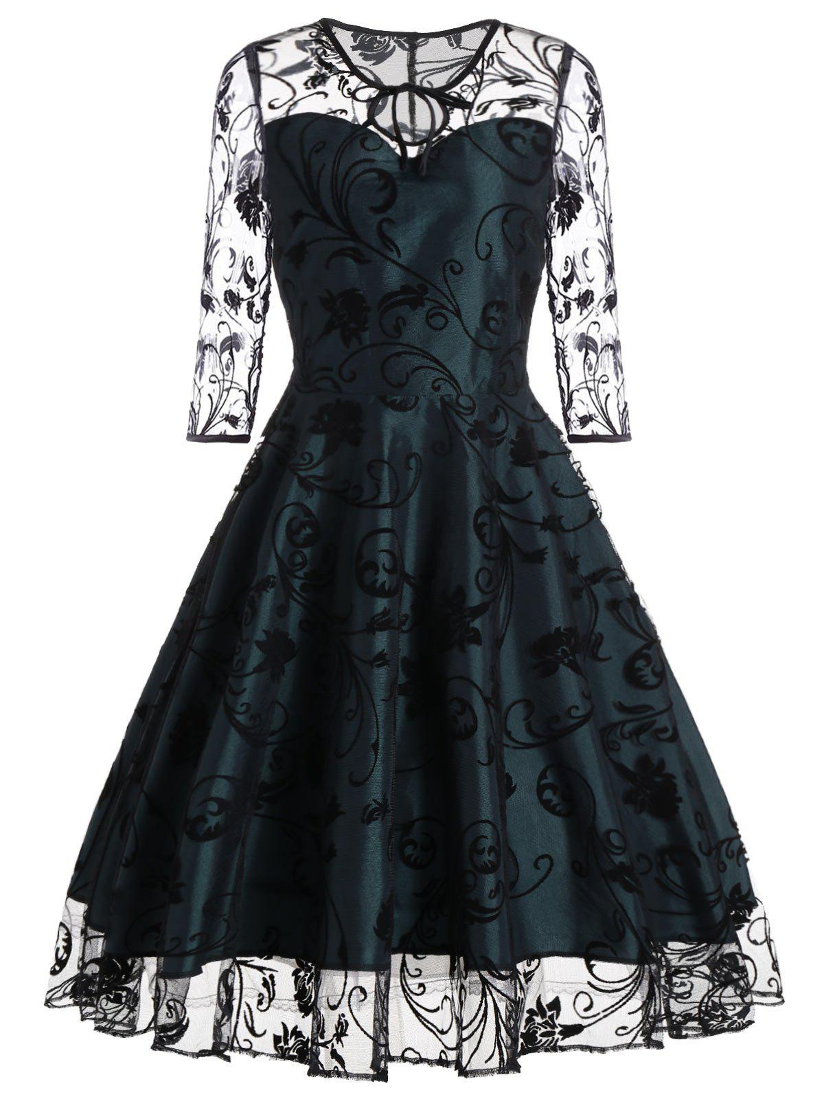 Sheer Sleeve Keyhole Lace Vintage DressWOMEN<br><br>Size: M; Color: BLACKISH GREEN; Style: Vintage; Material: Polyester; Silhouette: A-Line; Dresses Length: Mid-Calf; Neckline: Keyhole Neck; Sleeve Length: 3/4 Length Sleeves; Embellishment: Lace; Pattern Type: Floral; With Belt: No; Season: Fall,Spring,Summer; Weight: 0.3500kg; Package Contents: 1 x Dress;