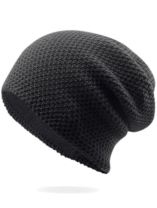 Outdoor Soft Thicken Slouchy Knited BeanieACCESSORIES<br><br>Color: BLACK; Hat Type: Skullies Beanie; Group: Adult; Gender: For Men; Style: Fashion; Pattern Type: Others; Material: Acrylic; Weight: 0.1000kg; Package Contents: 1 x Hat;