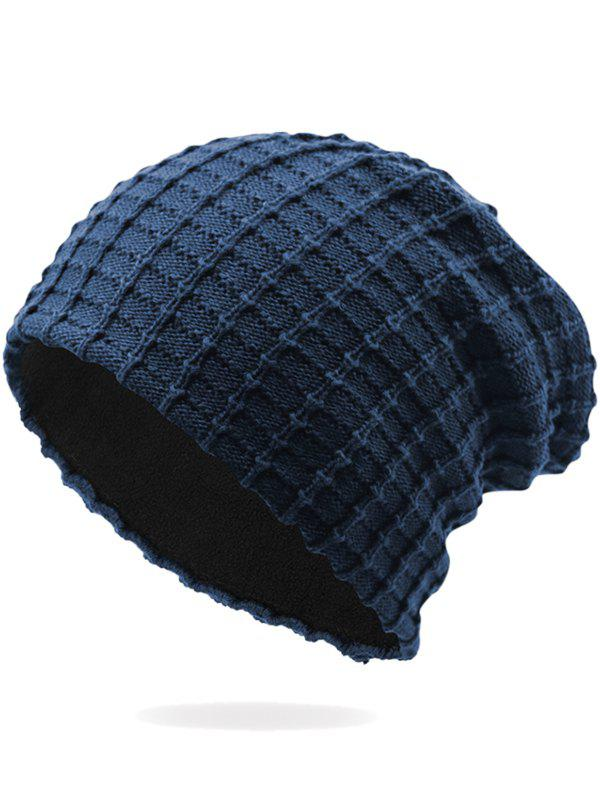 Latest Outdoor Soft Plaid Pattern Velvet Thicken Beanie