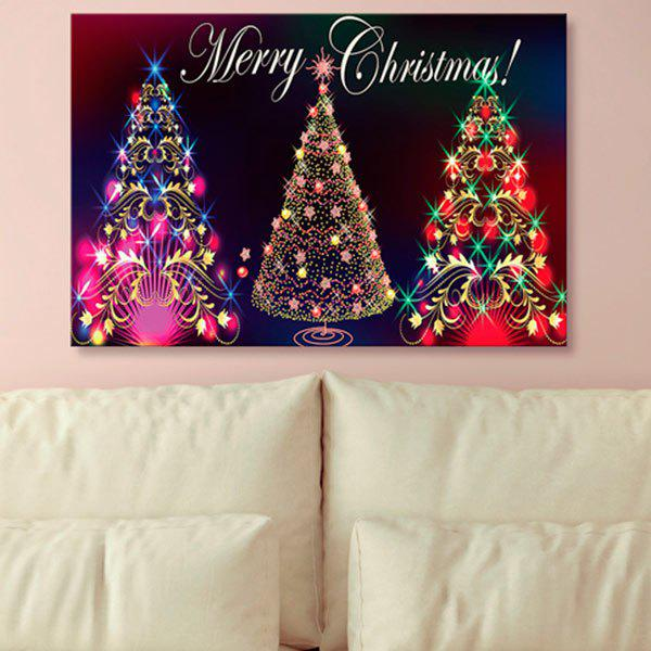 2018 Wall Art Neon Christmas Tree Print Canvas Painting In Colorful ...