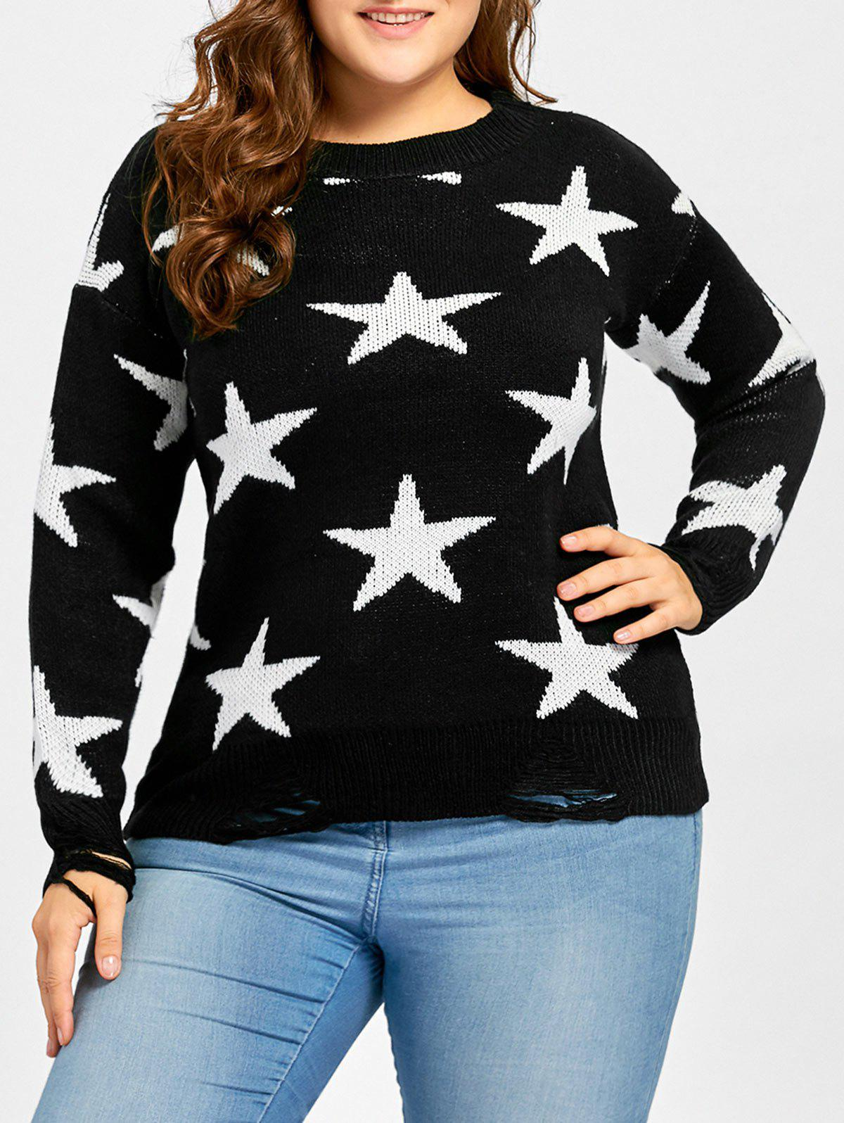 Plus Size Star Jacquard Destroyed SweaterWOMEN<br><br>Size: ONE SIZE; Color: BLACK; Type: Pullovers; Material: Acrylic,Polyester; Sleeve Length: Full; Collar: Crew Neck; Style: Fashion; Season: Fall; Pattern Type: Star; Weight: 0.4900kg; Package Contents: 1 x Sweater;