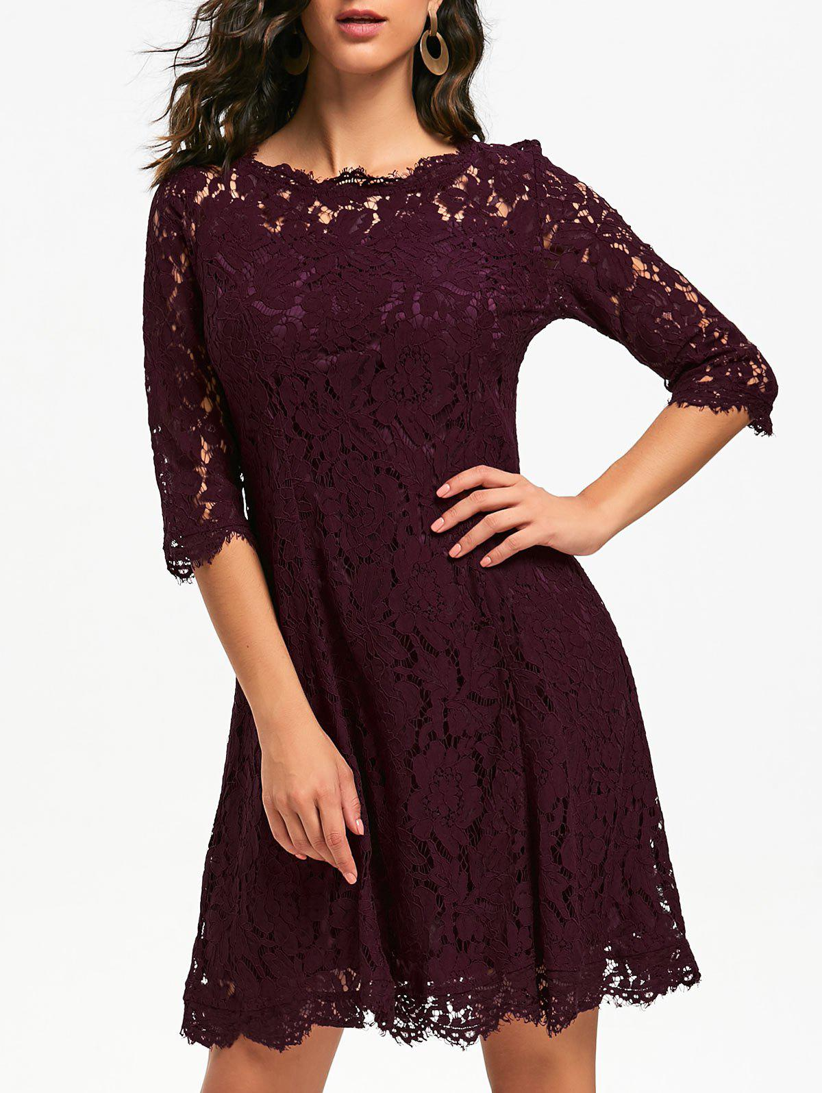 Lace Mini Evening Party DressWOMEN<br><br>Size: XL; Color: WINE RED; Style: Brief; Material: Polyester; Silhouette: A-Line; Dresses Length: Mini; Neckline: Round Collar; Sleeve Length: 3/4 Length Sleeves; Pattern Type: Solid; With Belt: No; Season: Fall,Spring; Weight: 0.4200kg; Package Contents: 1 x Dress; Occasion: Bridesmaid,Evening,Formal,Party,Semi Formal;