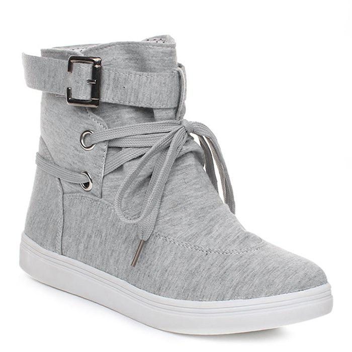 Bukle Strap Casual Canvas Ankle BootsSHOES &amp; BAGS<br><br>Size: 39; Color: GRAY; Gender: For Women; Boot Type: Fashion Boots; Boot Height: Ankle; Toe Shape: Round Toe; Heel Type: Flat Heel; Closure Type: Buckle Strap; Shoe Width: Medium(B/M); Pattern Type: Solid; Upper Material: Canvas; Weight: 1.1200kg; Season: Spring/Fall; Package Contents: 1 x Boots (pair);