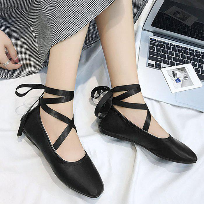 Trendy Ankle Strap Lace Up Criss Cross Flat Shoes