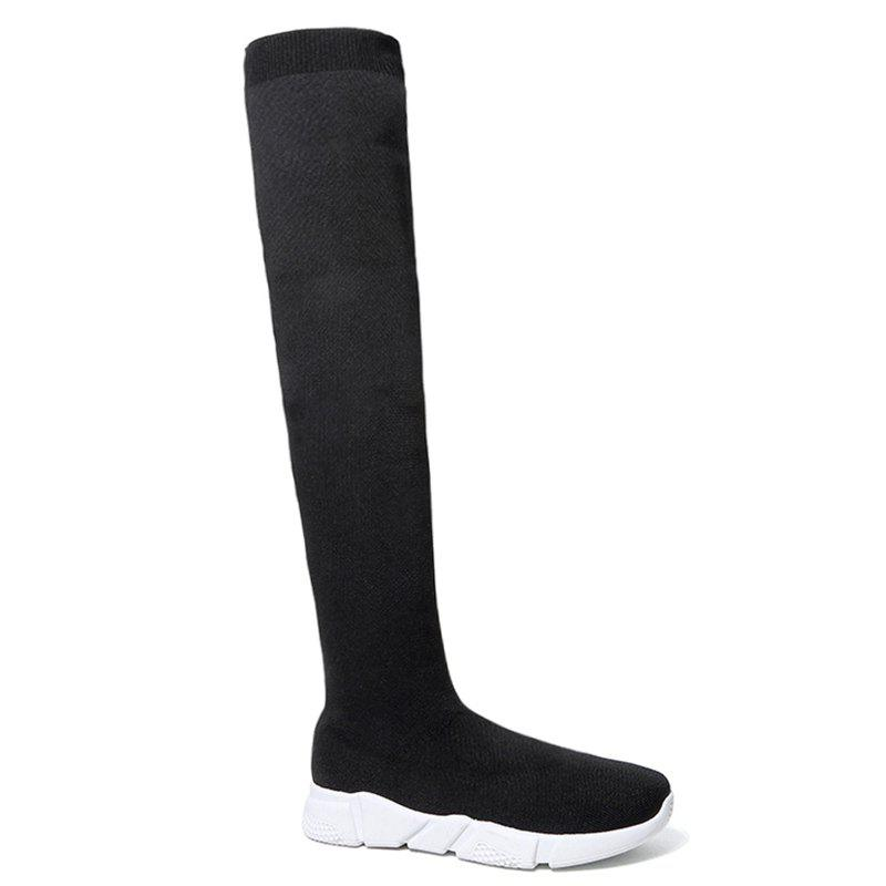 Sale Low Heel Round Toe Over The Knee Boots