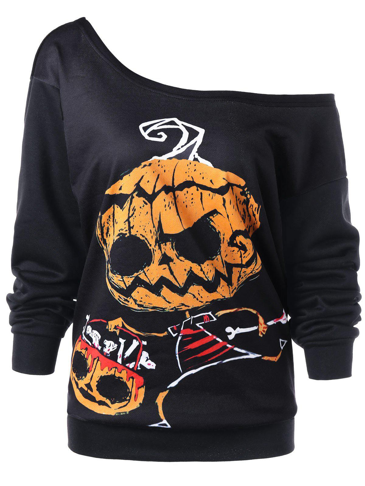 Halloween Plus Size Skew Neck SweatshirtWOMEN<br><br>Size: 4XL; Color: BLACK; Material: Polyester,Spandex; Shirt Length: Regular; Sleeve Length: Full; Style: Casual; Pattern Style: Others; Season: Fall,Spring; Weight: 0.3300kg; Package Contents: 1 x Sweatshirt;