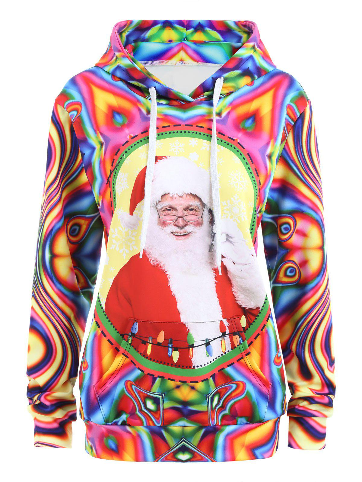 Kangaroo Pocket Santa Claus Ugly Christmas HoodieWOMEN<br><br>Size: XL; Color: COLORMIX; Material: Polyester,Spandex; Shirt Length: Regular; Sleeve Length: Full; Style: Novelty; Pattern Style: Others; Season: Fall,Spring; Weight: 0.4200kg; Package Contents: 1 x Hoodie;