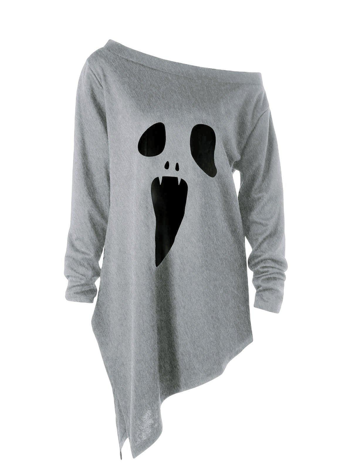 Shop Halloween Plus Size Graphic Asymmetric Skew Neck Sweatshirt