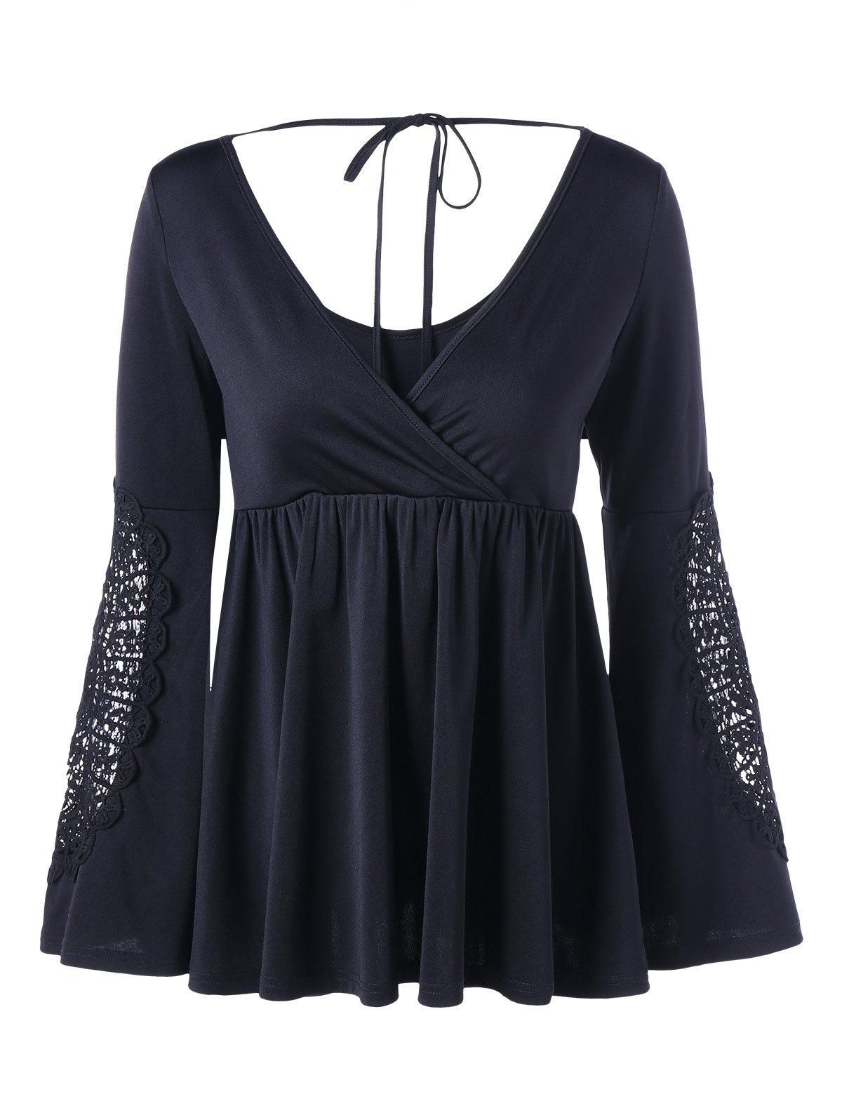 Crochet Insert Bell Sleeve Surplice Neck TopWOMEN<br><br>Size: 2XL; Color: BLACK; Material: Polyester,Spandex; Shirt Length: Regular; Sleeve Length: Full; Collar: V-Neck; Style: Fashion; Sleeve Type: Flare Sleeve; Embellishment: Lace; Pattern Type: Solid Color; Season: Fall,Spring; Weight: 0.3590kg; Package Contents: 1 x Top;