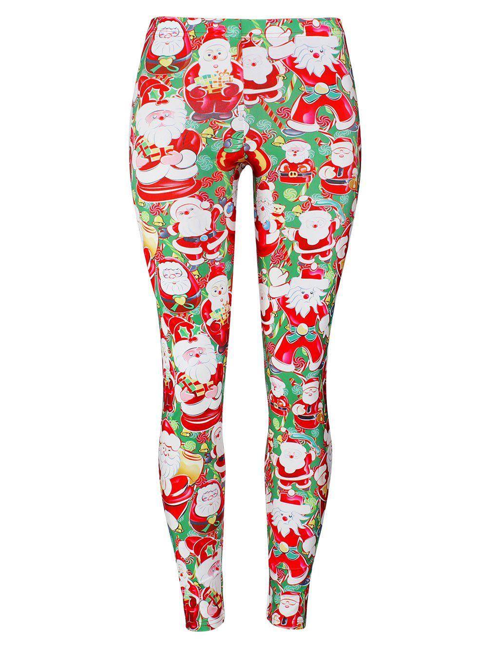 Christmas Party Santa Claus LeggingsWOMEN<br><br>Size: M; Color: COLORMIX; Style: Novelty; Material: Polyester,Spandex; Waist Type: Mid; Pattern Type: Others; Weight: 0.2300kg; Package Contents: 1 x Leggings;