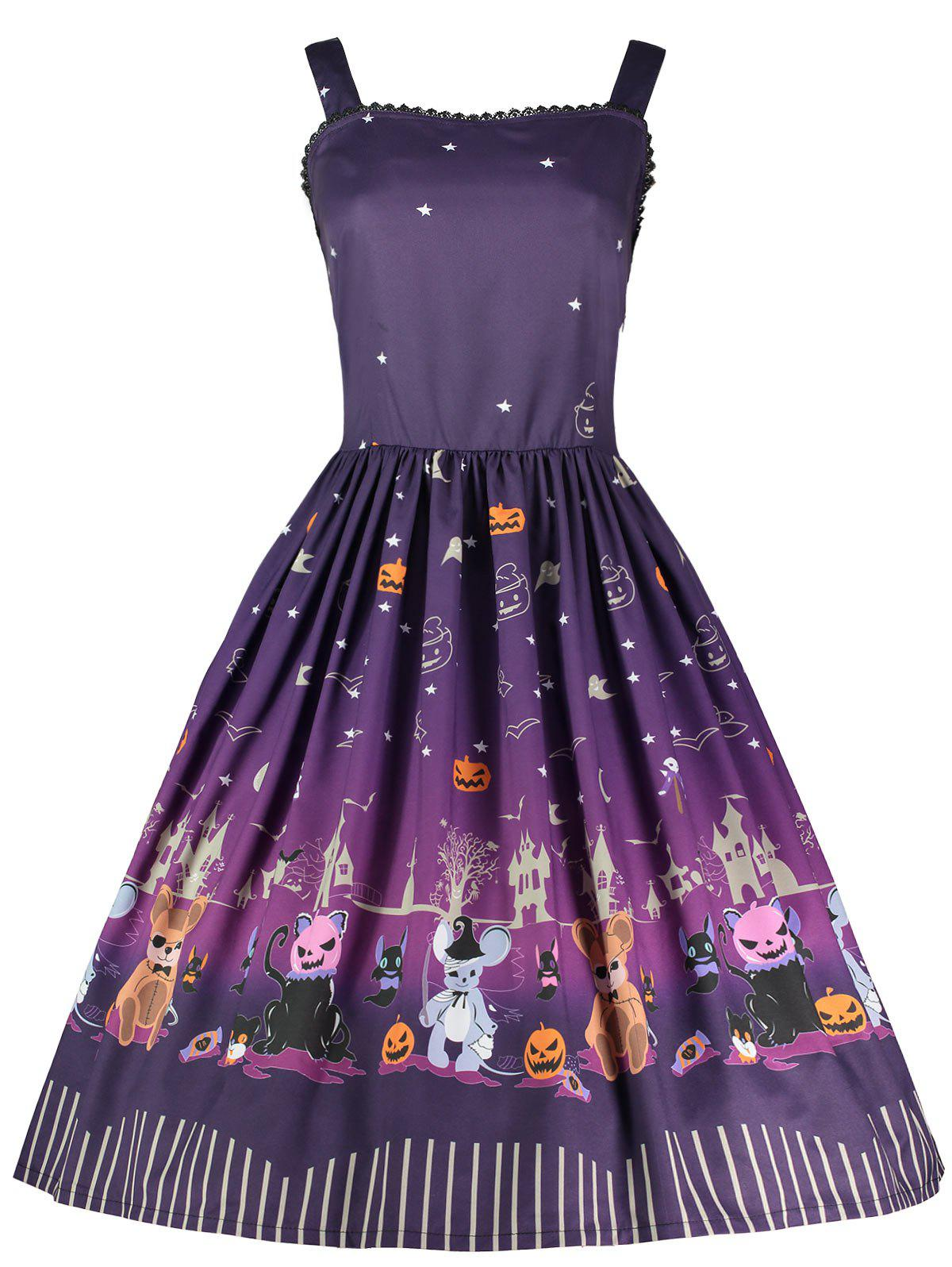 Buy Halloween Pumpkin Plus Size Spaghetti Strap Dress
