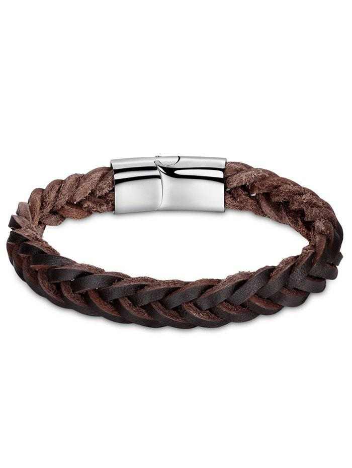 Faux Leather Braid Cool BraceletJEWELRY<br><br>Color: BROWN; Gender: For Men; Chain Type: Leather Chain; Style: Trendy; Shape/Pattern: Round; Length: 20CM; Weight: 0.0300kg; Package Contents: 1 x Bracelet;