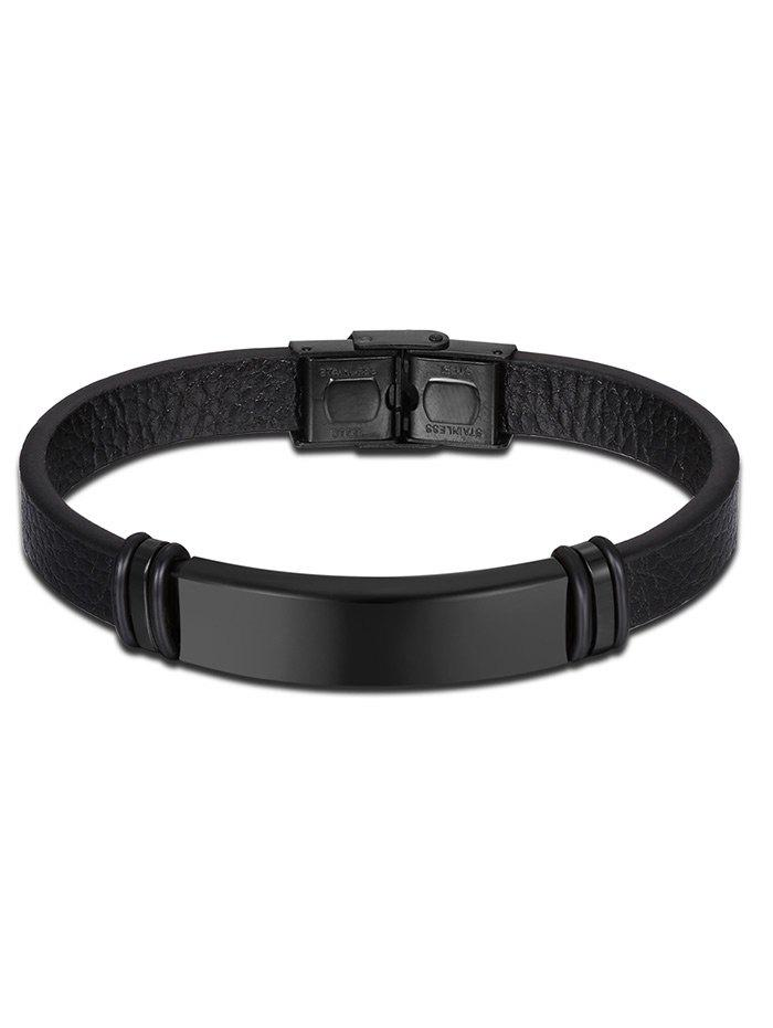 Vintage Faux Leather BraceletJEWELRY<br><br>Color: BLACK; Gender: For Men; Chain Type: Leather Chain; Style: Trendy; Shape/Pattern: Solid; Length: 20CM; Weight: 0.0300kg; Package Contents: 1 x Bracelet;