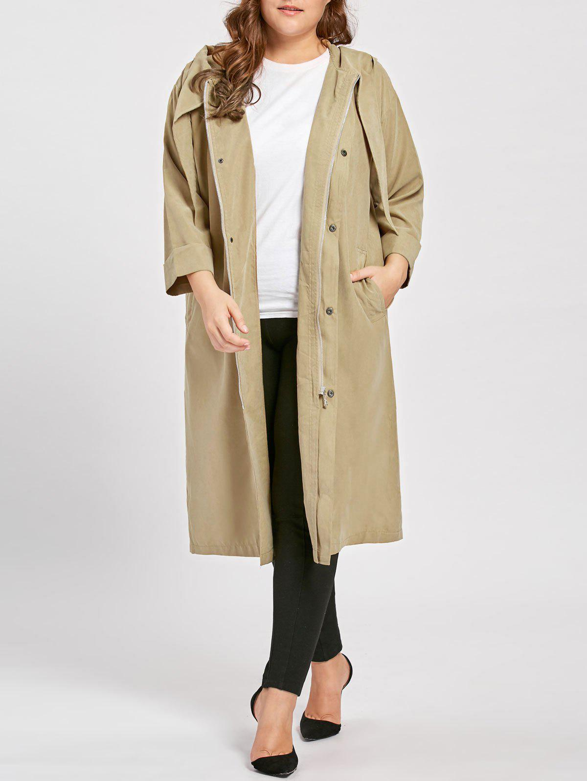 Outfit Plus Size Faux Sueded Long Zip Up Hooded Coat