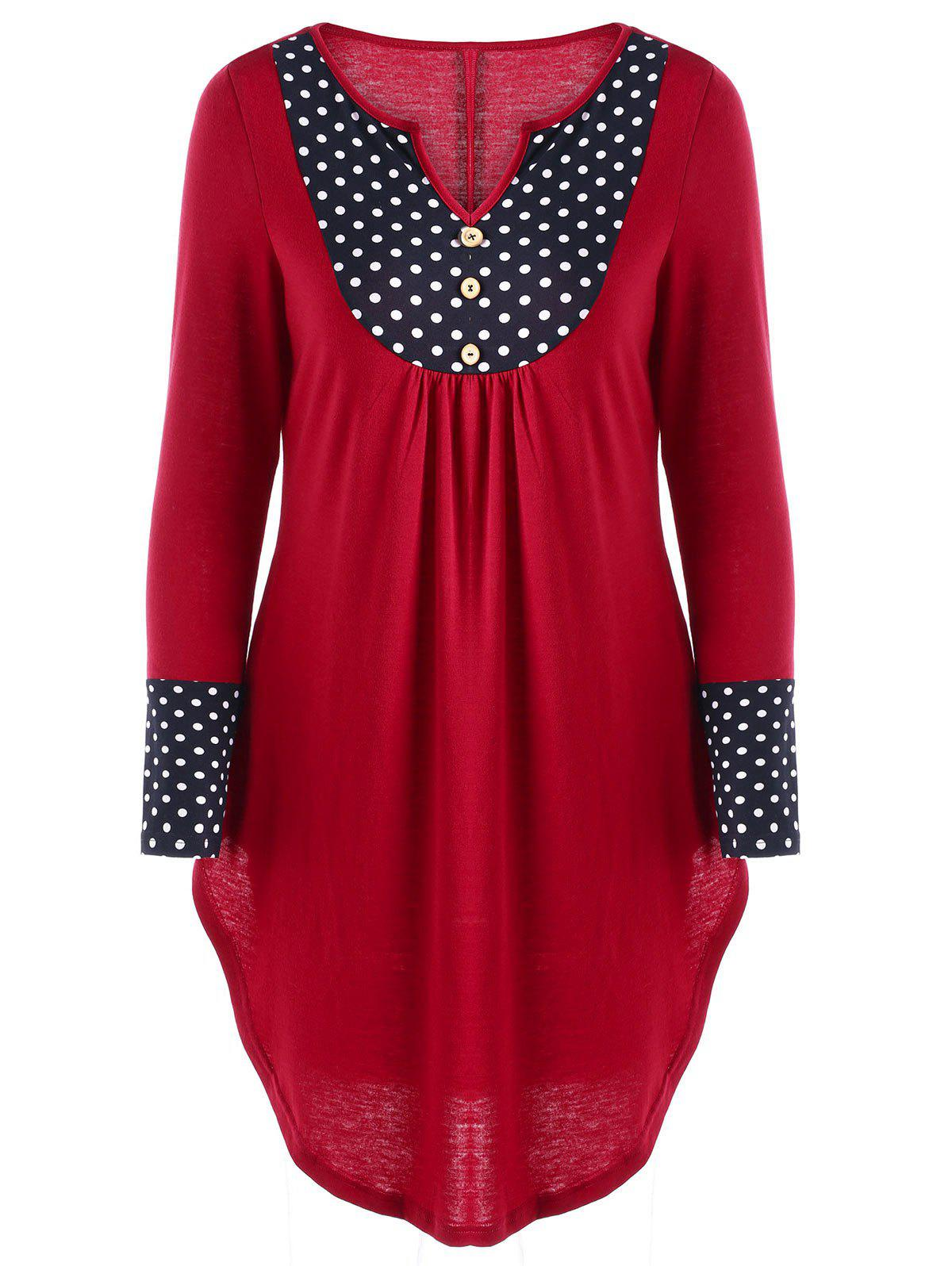 Polka Dot Curved Hem Tunic TopWOMEN<br><br>Size: L; Color: RED; Material: Polyester,Spandex; Shirt Length: Long; Sleeve Length: Full; Collar: V-Neck; Style: Casual; Pattern Type: Polka Dot; Season: Fall,Spring; Weight: 0.2700kg; Package Contents: 1 x Top;