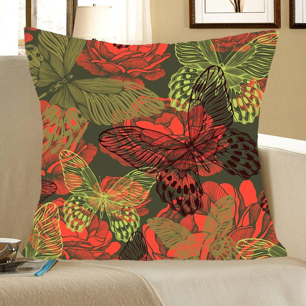 Artistic Butterfly Pattern Square Pillow CaseHOME<br><br>Size: W18 INCH * L18 INCH; Color: COLORFUL; Material: Linen; Pattern: Animal; Style: Trendy; Shape: Square; Weight: 0.0800kg; Package Contents: 1 x Pillow Case;