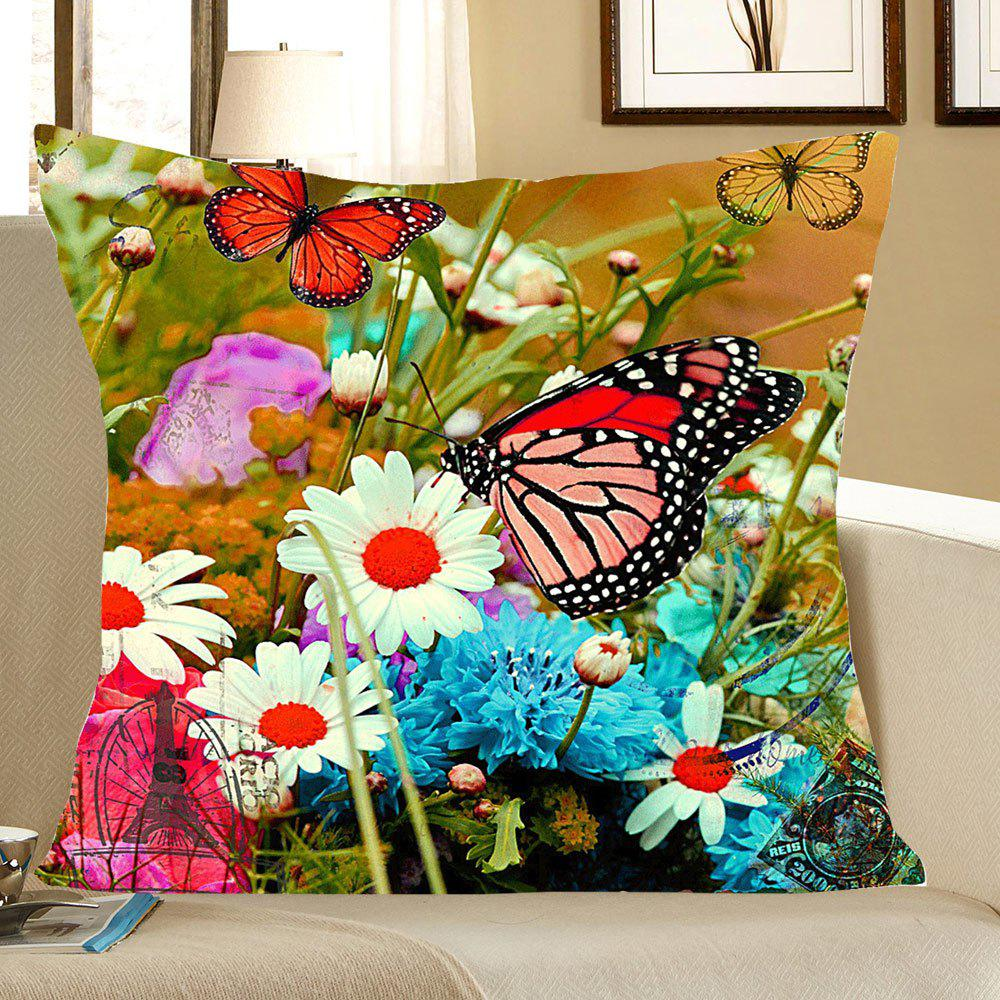 Flowers and Butterfly Pattern Square Pillow CaseHOME<br><br>Size: W18 INCH * L18 INCH; Color: COLORFUL; Material: Linen; Pattern: Animal; Style: Casual; Shape: Square; Weight: 0.0800kg; Package Contents: 1 x Pillow Case;