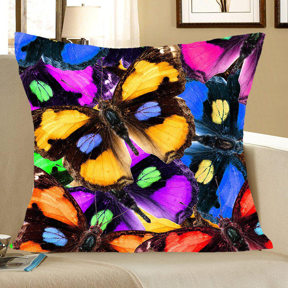 Butterflies Pattern Square Pillow CaseHOME<br><br>Size: W18 INCH * L18 INCH; Color: COLORFUL; Material: Linen; Pattern: Animal; Style: Casual; Shape: Square; Weight: 0.0800kg; Package Contents: 1 x Pillow Case;