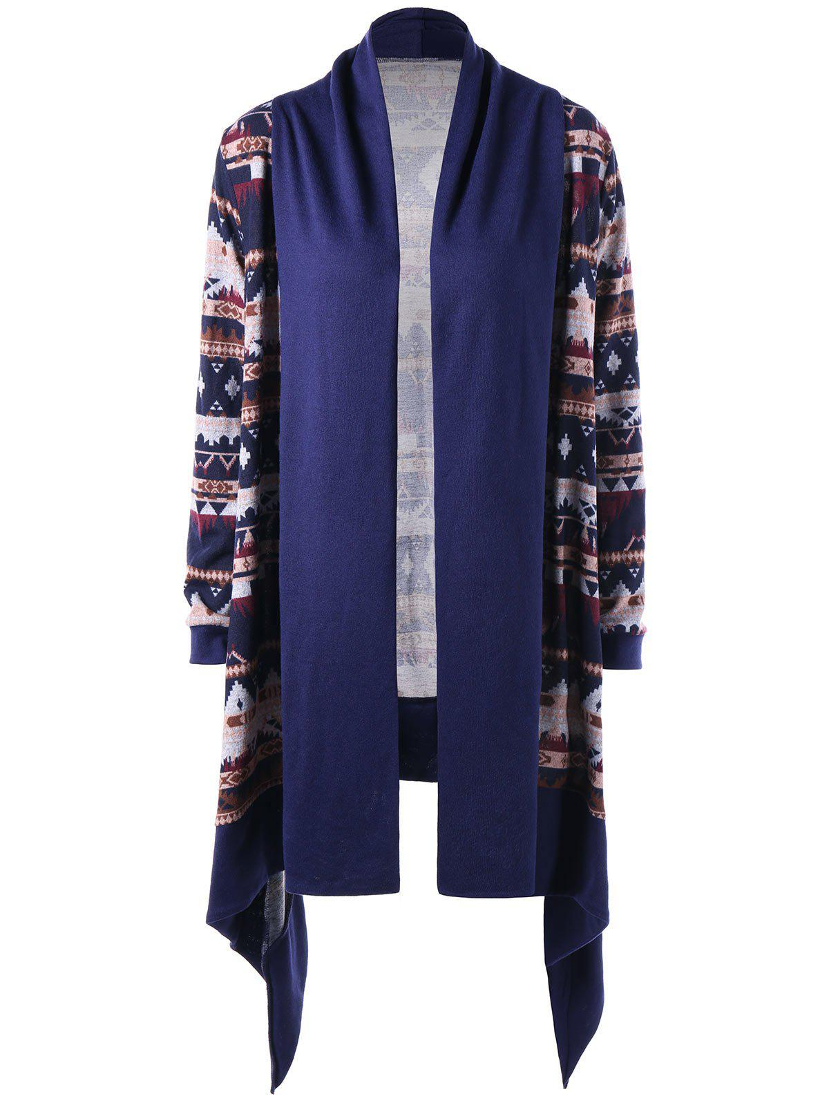 Unique Tribal Print Open Front Drape Cardigan