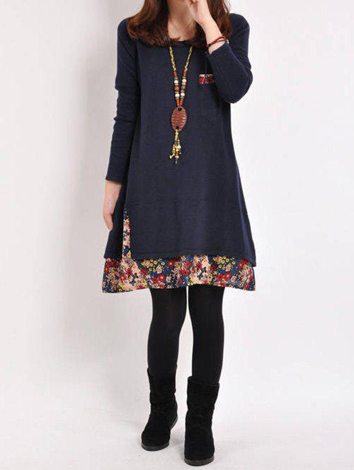 Outfits Floral Hem Casual Long Sleeve Dress
