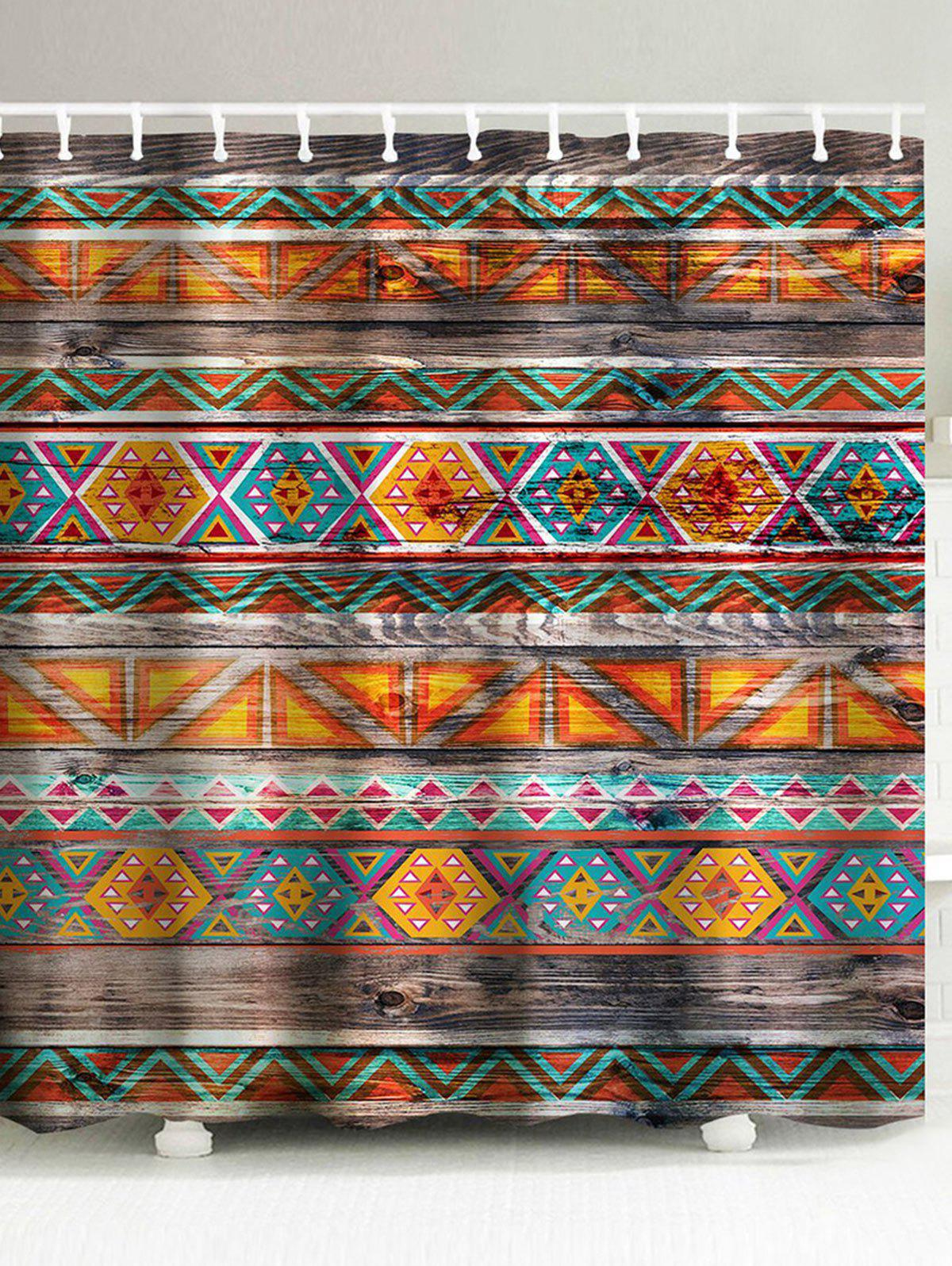 New Eco Friendly Dream Tribal Wooden Print Shower Curtain