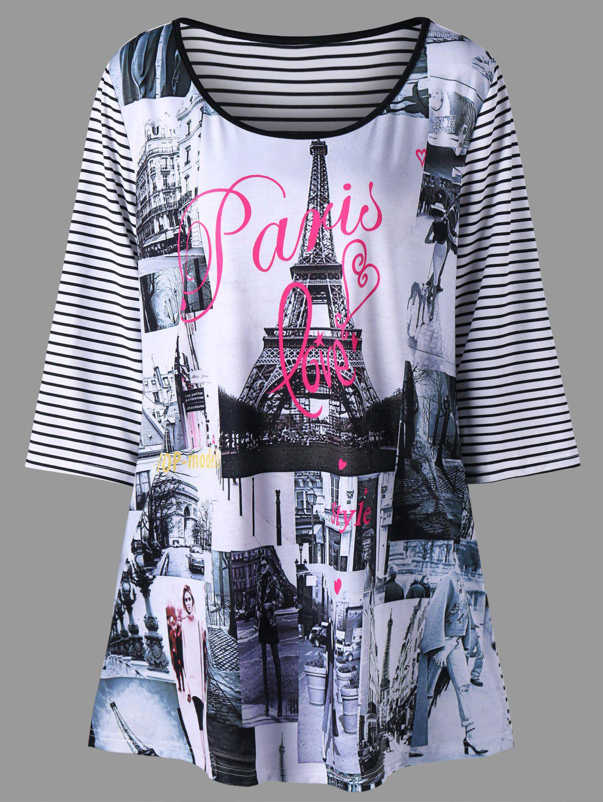 Plus Size Striped Eiffel Tower TopWOMEN<br><br>Size: 2XL; Color: BLACK STRIPE; Material: Polyester,Spandex; Shirt Length: Long; Sleeve Length: Three Quarter; Collar: Scoop Neck; Style: Casual; Season: Fall,Spring; Pattern Type: Striped; Weight: 0.2400kg; Package Contents: 1 x T-shirt;