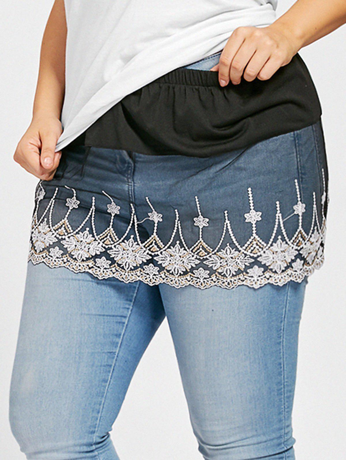 Hot Plus Size Floral Lace Sheer Extender Skirt