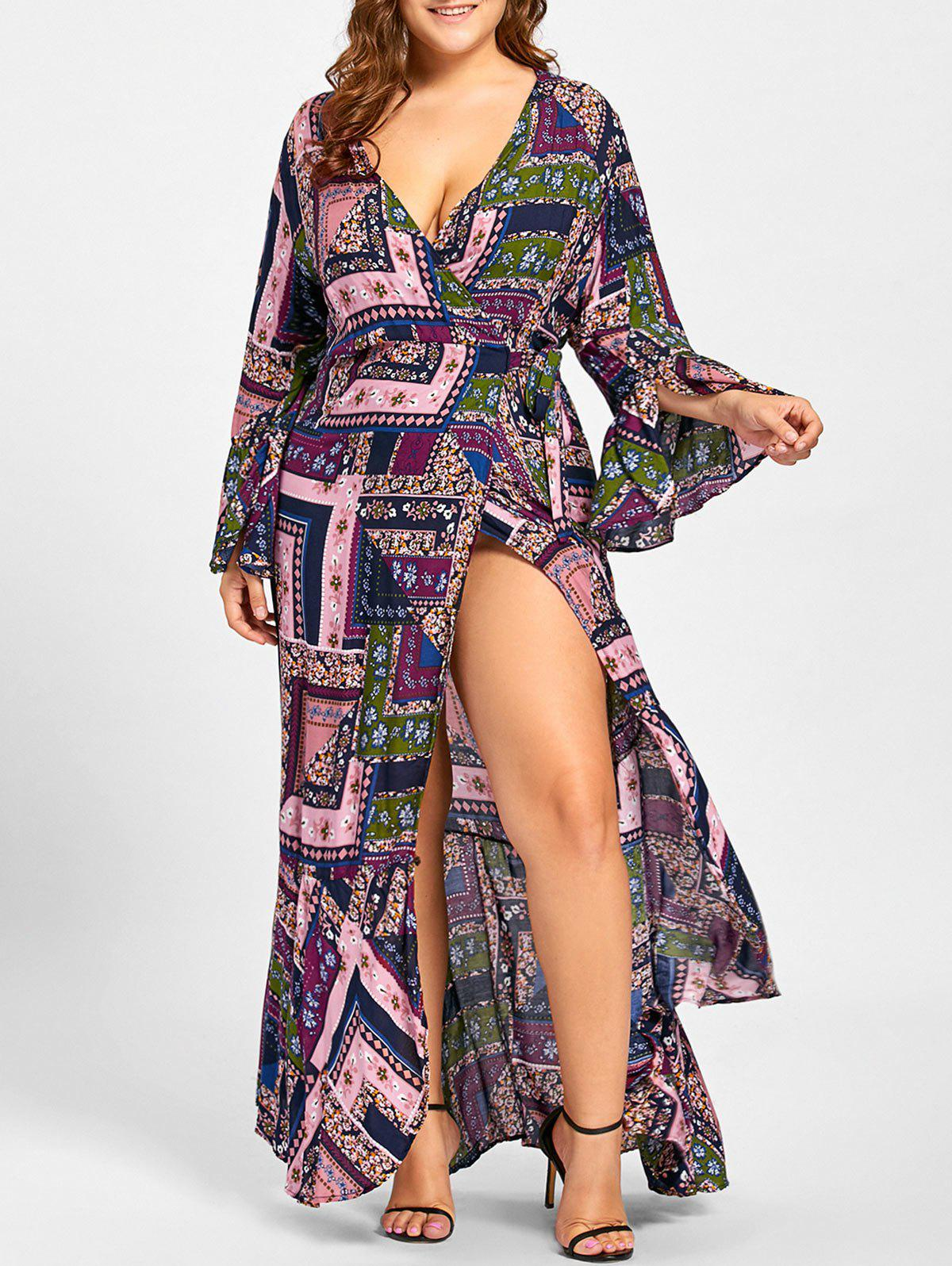 Sale Plus Size Wrap Bell Sleeve Maxi Dress